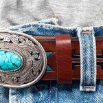 Läderbälte 35mm brun-silverspänne